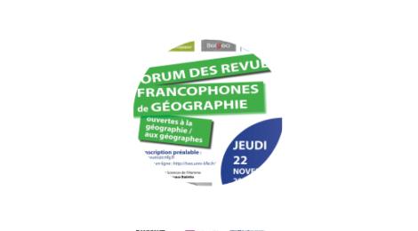 Portail des revues géographiques et compte rendu du forum de Lille